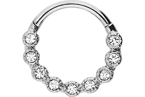 PIERCINGLINE Chirurgenstahl Segmentring Clicker | 9 Kristalle | Piercing Ring Septum Helix Tragus | Farbauswahl