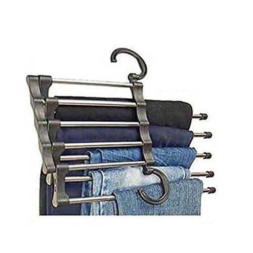Demarkt 1 Stück Kleiderbügel aus Edelstahl Platzsparend Einziehbare Hosenbügel 5 Schicht für hängende Tücher, Schal, Hemd, Mantel, Bindung