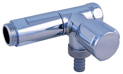 SCHELL 033240699 NA-Ventil / Nebenanschlussventil COMFORT, verchromt , WAS-Ventil für Wandbatterie, mit COMFORT-Griff und Fettkammeroberteil, Rückflussverhinderer, Schlauchverschraubung, Überwurfmutter und Distanzstück