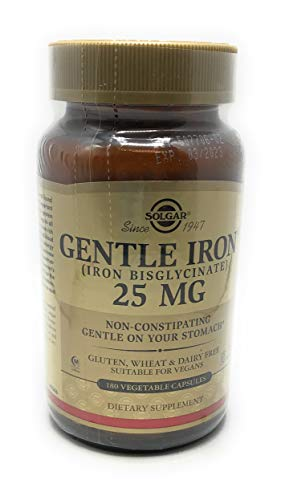 Solgar Gentle Iron 25 mg, 180 Vegetable Capsules - Ideal for Sensitive Stomachs - Non-Constipating - Red Blood Cell Supplement - Non-GMO, Vegan, Gluten Free, Dairy Free, Kosher - 180 Servings