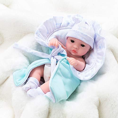 Babypuppe, 10 '' Mini Reborn Babies Vollsilikon-Vinylpuppen, Lebensechte Bibi-Babypuppe Mit Weichem Körper, Mädchen-Jungen-Spielzeug Zum Baden Von Kleinkindern,Boy,D
