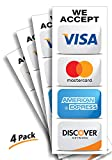 """Credit Card Sticker Signs Stickers – 4 Pack 3""""x 8"""" Inch - We Accept Visa, MasterCard, Amex & Discover, Premium Self-Adhesive Vinyl, Laminated, UV, Weather, Scratch, Water and Fade Resistance"""
