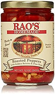 Rao's Homemade Roasted Peppers with Pine Nuts, 12 Oz Jar, 6 Pack, Fire Roasted, Peeled Red Peppers, and Pine Nuts in Olive Oil, Ready to Serve, Authentic Italian Family Recipe