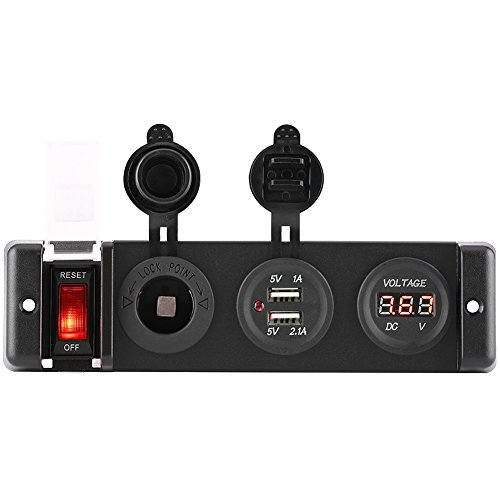 Qiilu 12V voltmeter sigarettenaansteker Dual USB Power Socket Switch Panel voor Auto RV Marine Boat
