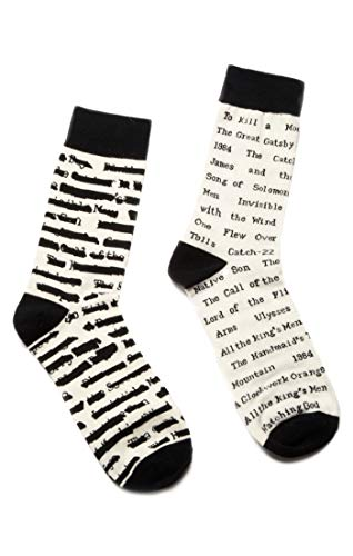 Out of Print Unisex Banned Books Socks Small White