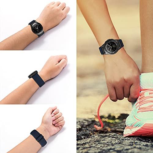 MroTech 20mm Uhrenarmband kompatibel für Samsung Galaxy Watch 42MM/Active 2/Active2 40mm/44mm/Galaxy Watch3 41mm Armband für GT 2 42MM/GTR 42 mm/GTS Nylon Loop Elastic Woven Band Adjustable Dunkelblau