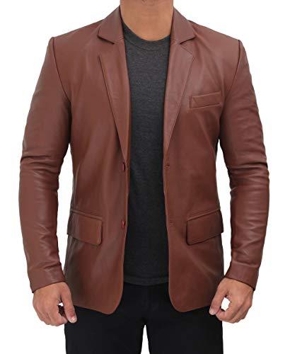 Azaro Uomo Men's Blazer Slim Dress Casual Stretch Suit Sport Jacket Stylish, Khaki tan, X-Large