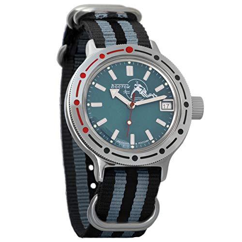 Vostok Amphibian Automatik-Herren-Armbanduhr, selbstaufziehend, Militär Taucher Amphibia Gehäuse Armbanduhr #420059 Schwarz / Grau
