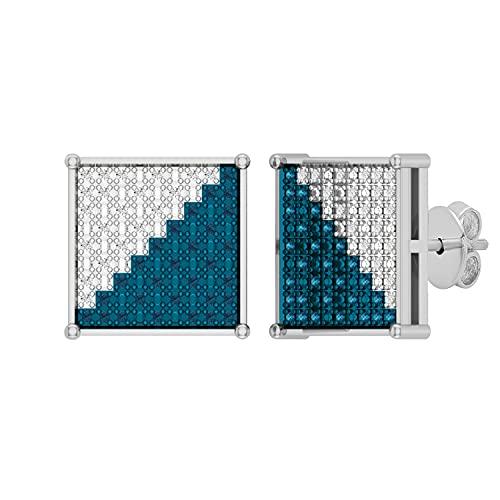 Dazzlingrock Collection Pendientes de tuerca de 0,20 quilates de diamantes redondos azules y blancos clásicos de Hip-Hop en forma cuadrada para hombres de 1/5 quilates, plata de ley 925