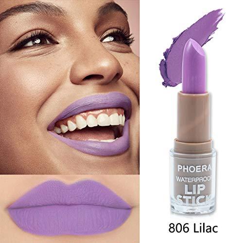 Wasserdichter Lippenstift Matt 14 Farben langlebiger Antihaft-Becher Lippenstift Lippen Makeup Shimmer Lippenstift Kosmetik (4g, Lila 806#)