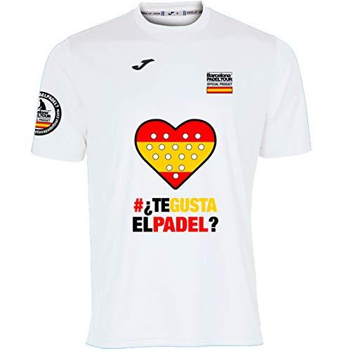 Barcelona Padel Tour | Camiseta Técnica de Manga Corta para Hombre Joma | En Tejido Micro Mesh Transpirable con Corazón Love Pádel y Bandera España Blanco L
