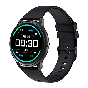 YAMAY Smart Watch Compatible iPhone and Android Phones IP68 Waterproof, Watches for Men Women Round Smartwatch Fitness Tracker Heart Rate Monitor Digital Watch with Personalized Watch Faces (Black)