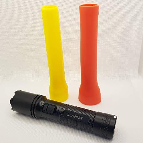 Klarus Kit Señalización Vehículo | Linterna táctica LED A1 1100 lumenes con cono señalización Amarillo y Rojo | Alcance max 230mts, IPX6, batería 18650 de 2200mAh Carga rápida externa por USB-C
