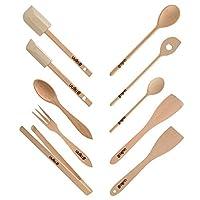 uulki set di utensili da cucina in legno | cucchiai ecologici, spatole da forno, pinze per barbecue, insalate, posate da insalata, legno di faggio europeo (10 pz.)