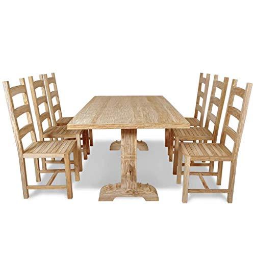 vidaXL Teak Massivholz 7-TLG. Essgruppe Sitzgruppe Esstischset Tisch mit Stühlen