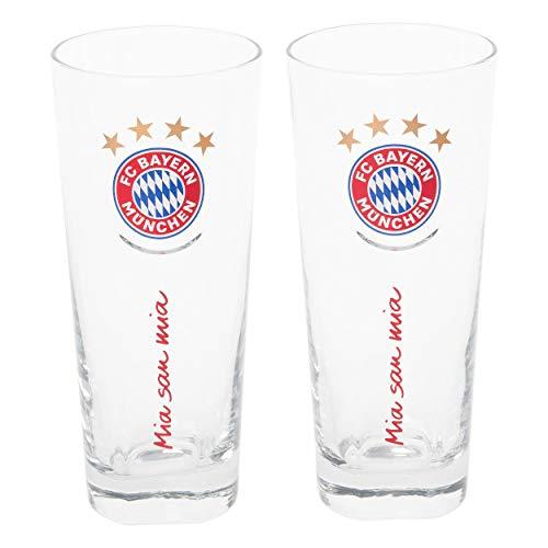 FC Bayern München Glas / Trinkglas / Fanglas 2er Set FCB plus gratis Aufkleber forever München