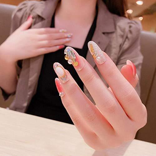 24 Pcs/en boîte Big Diamond Long Tip Head appuyez sur les ongles avec des conceptions Femmes Wearable Full Cover Finger faux acrylique ongle avec
