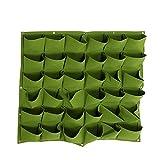 Jian Ya Na 36 bolsillos para plantar bolsas para colgar en la pared, jardinería, jardinería, exteriores, exteriores, verticales, bolsas de cultivo de 100 x 100 cm (verde)