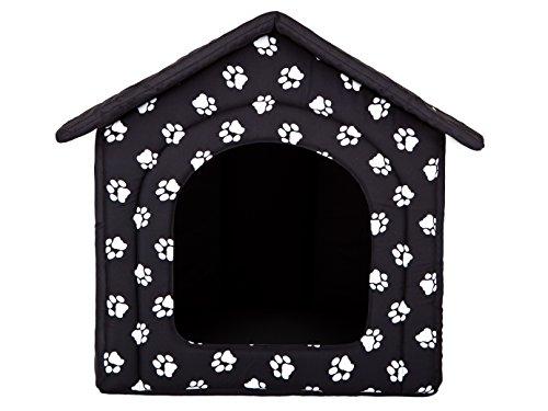 HobbyDog Hundehütte Hundebett Tierbett Katzenbett Schwarz mit Pfoten