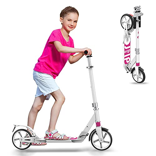 Scooter for Adults, Scooters for Teens 12 Years and Up with Double Suspension, Adjustable Handlebars, 2 Big Wheels, with Quick Release Folding System, Great Gift Selection Girl