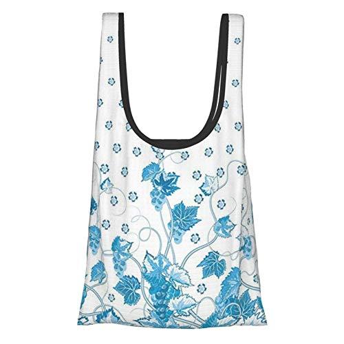 GIERTER Uvas Decoración del hogar Victoriano Swirling Motivo monocromo Spotted Kitsch Imagen viva azul blanco reutilizable plegable bolsas de compras ecológicas