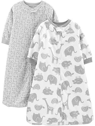 Simple Joys by Carter's Baby 2-Pack Microfleece Sleepbag Wearable Blanket, Animals Heather Grey, 6-9 Months, 17 to 21 lbs