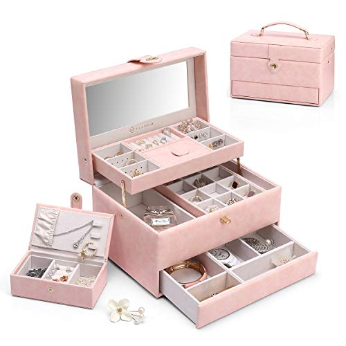Vlando Flora 3-Layer One-Handed Jewelry Box,with Portable Travel Jewelry Organizer and Removable Necklaces Hooks, Watch Cubes, Covered Compartment, Gift for Loved Ones-Pink …