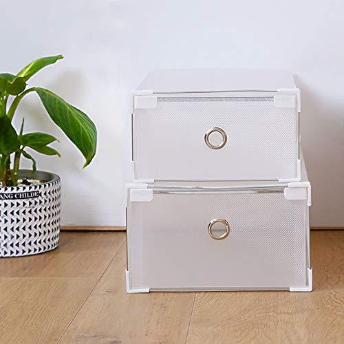 weichuang Caja de zapatos multifuncional plegable para almacenamiento de zapatos, caja de plástico grueso transparente, práctica caja de zapatos para el hogar (color: 46 cm x 36 cm x 1,5 cm)