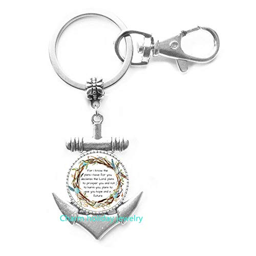 Scripture Anchor Keychain,for I Know The Plans I Have for You Anchor Keychain,Scripture Gift,Scripture Charm,Jeremiah 29 11 Anchor Keychain,Bible Verse Gift-#394