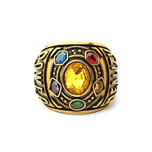 Diadia Thanos Anillos Infinity War Soul Stone Power Ring Anillo de oro Cosplay Prop (US 11)