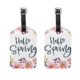 Spring Hello - Etiqueta de equipaje con diseño floral para mujer y hombre, diseño de flores, 2 unidades, con hebilla de piel