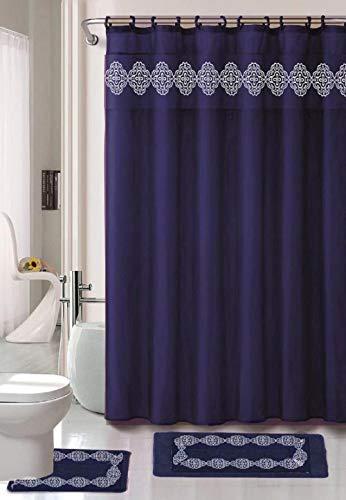 4-teiliges Badezimmerteppich-Set, rutschfest, marineblau, mit Stoff-Duschvorhang & entsprechenden Ringen, Yila Navy