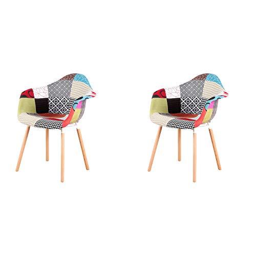 N/A Conjunto de 2 sillas de Comedor Silla de Cocina Silla de salón de diseño con Respaldo Lino Retazos de Madera Maciza sillones de Tela Multicolor con Cubierta de Retazos para el Comedor(Patchwork)