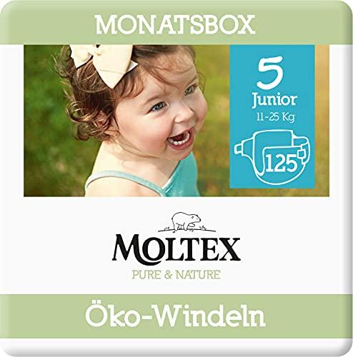 Moltex Pure & Nature Öko Windeln Größe 5 Junior (13-18 kg) Monatsbox - 125 Bio Windeln