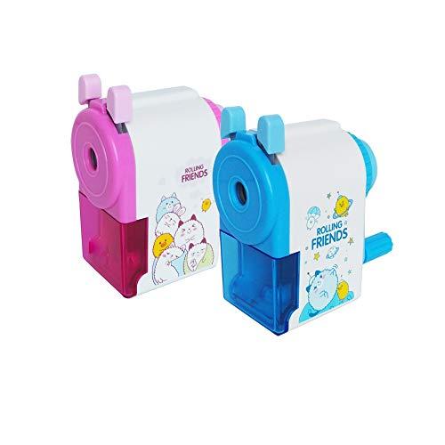 2 Stücke Anspitzer Manuelle Spitzmaschine Karikatur Handheld Spitzer mit kurbel für Kinder Schreibtisch Zuhause Schule Büro Lieferungen Geschenk - Neuheit & Praktisch(Blau+Rosa)