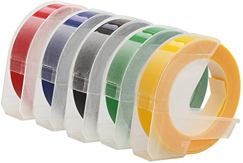 Prestige Cartridge 5er Set 3D Prägeband Weiß auf Schwarz Rot Blau Grün Gelb 9mm x 3m kompatibel für Prägegeräte Dymo Junior und Omega