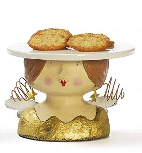 Baden Aufsteller Deko Kopf Frauenkopf Ladykopf Engel als Kuchenplatte cremeweiß mit Perlenkette oder Gold mit Sternohrring (Gold)