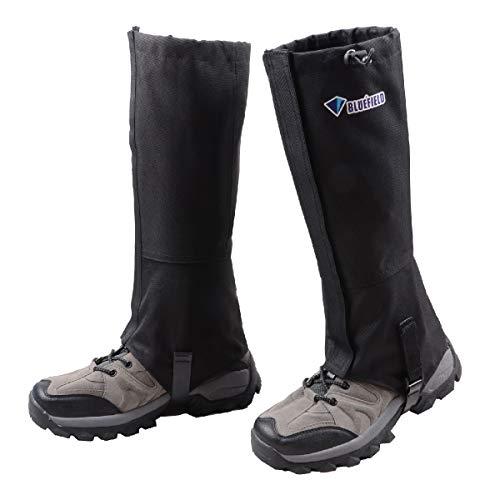 Azarxis Polainas de Senderismo Impermeable 1 Par Transpirable Polainas de Nieve para Trekking Caza Esquí Montaña al Aire Libre (Negro, L)