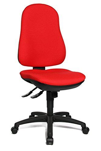 Topstar Support SY - Sedia girevole da ufficio, in tessuto, 55 x 47 x 113 cm, Tessuto, Rot, 55 x 47 x 113 cm