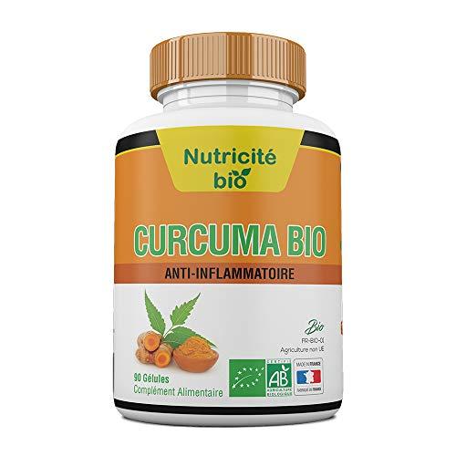 Curcuma Bio 90 gélules–Anti-inflammatoire naturel – Efficace – Effets immédiats – Racines de Curcuma Longa pour soulager les articulations et calmer les douleurs