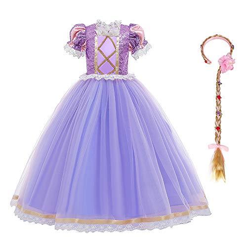 IBTOM CASTLE Costume de princesse Raiponce pour enfant - Robe longue pour fête, carnaval, fête, demoiselle d'honneur, fête d'anniversaire - Taille 98-140 - Violet - 44