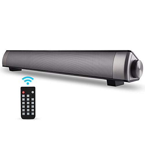 ASIYUN 2 X 5W Mini Bluetooth Sound Bar, Wired and Wireless Home Theater Audio for Cell Phone/Tablet/Projector and Support TV with AUX/RCA Output (Remote Control Included)