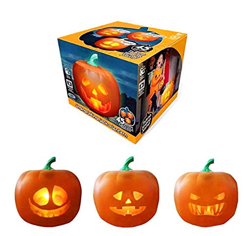 ZDG Halloween Party Flash,Halloween Talking Animated Pumpkin with Built-in Projector & Speaker, 3-in-1 LED Pumpkin Projection Lamp for Home Party (3in1) Holiday Day Vacation Festival Essentials