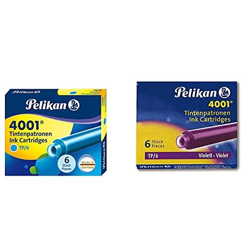 Pelikan 301705A - Juego de cartuchos de tinta 4001 para plumas estilográficas TP6, 6 cartuchos, Turquesa + TP6 - Cartucho tinta estilográfica, color violeta