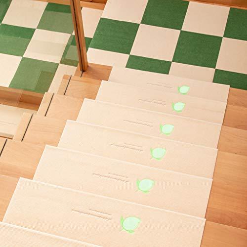 Carpet Stair Lichttapijt, voor trappen, mat, zelfklevend, zonder lijm, PVC, antislip, voor vloeren, trappen, 55 cm, beige, 3 stuks