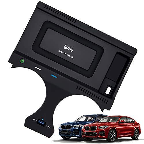 Caricatore Wireless per Auto per BMW X3 2018 2019 2020 BMW X4 2019 2020 2021 Pannello Accessori Console Centrale, 10W QC3.0 Rapida Ricarica Telefono Pad con Porta USB 18W per iPhone Samsung