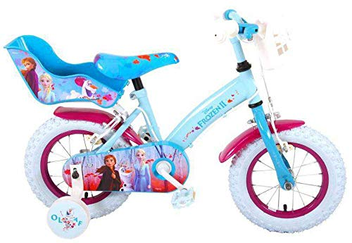 Disney Bicicleta Niña Chica 12 Pulgadas Frozen 2 Frenos al Manillar Cesta y Porta Muñecas Azul 85% Montado