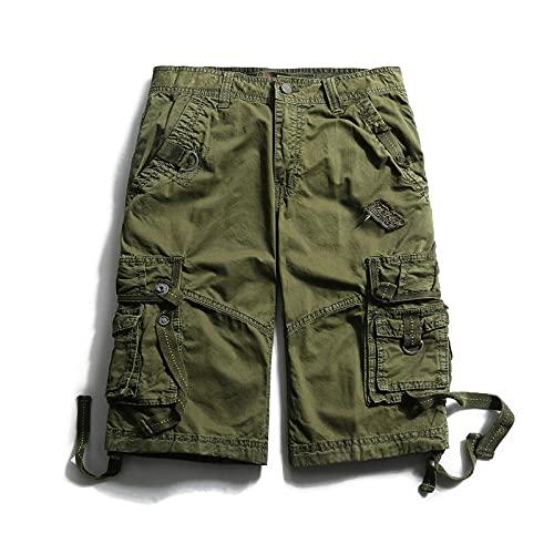Pantalones Cortos Hombre Hebilla De Moda para Hombre Pantalones Cortos Militares De Carga Pantalones Cortos De Algodón De Camuflaje con Múltiples Bol