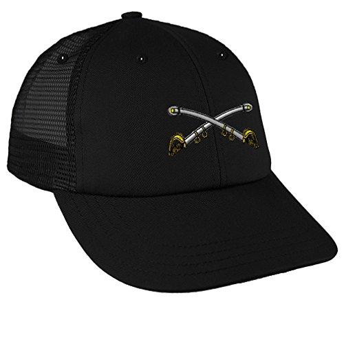 Cavalry Crossed Sabers - Cav Brass Sewed Low Crown Mesh Golf Snapback Hat Black