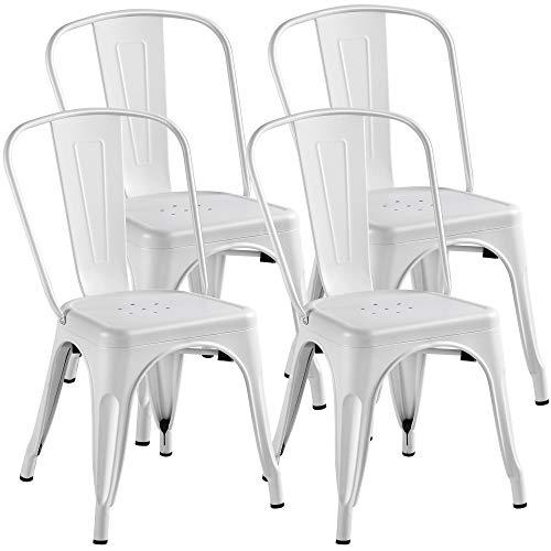 Yaheetech 4er Set Barstuhl Metall Esszimmerstuhl Stapelbar Wohnzimmerstuhl Industrial Design Belastbarkeit 150 Kg Weiß
